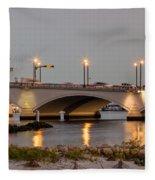 Flagler Bridge In Lights Iv Fleece Blanket