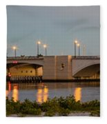 Flagler Bridge In Lights Panorama Fleece Blanket