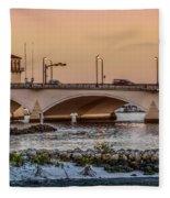 Flagler Bridge In The Evening IIi Fleece Blanket