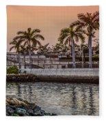 Flagler Bridge In The Evening V Fleece Blanket