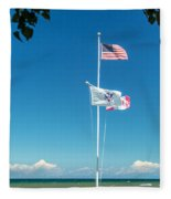 Flags On The Shoreline Fleece Blanket