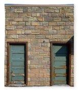 Flagstone Wall And Two Green Doors Fleece Blanket