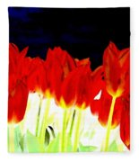 Flaming Red Tulips Fleece Blanket