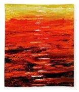Flaming Sunset Abstract 205173 Fleece Blanket by Mas Art Studio