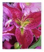 Flaming Tiger Lily Fleece Blanket
