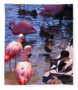 Flamingo Family  Fleece Blanket
