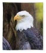 Flamingo Gardens - Focused Bald Eagle Fleece Blanket