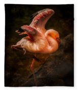 Flamingo In Darkness Fleece Blanket