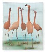 Flamingo Mingle Fleece Blanket