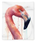 Flamingo Painting Watercolor - Facing Right Fleece Blanket