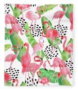 Flamingo Paradise Fleece Blanket