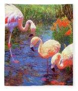 Flamingo Tangerine Dream Fleece Blanket