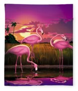 Flamingoes Flamingos Tropical Sunset Landscape Florida Everglades Large Hot Pink Purple Print Fleece Blanket