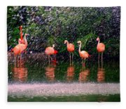 Flamingos II Fleece Blanket