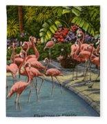 Flamingos Vintage Postcard Fleece Blanket