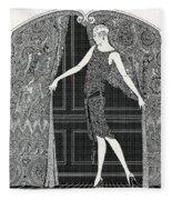 Flapper Opening A Curtain Fleece Blanket