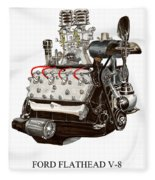 Flat Head V 8 Engine Fleece Blanket