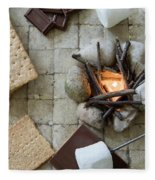 Flat Lay Camp Fire S'mores Deconstructed Fleece Blanket
