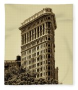 Flatiron Building In Sepia Fleece Blanket