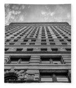Flatiron Building Sky Black And White Fleece Blanket