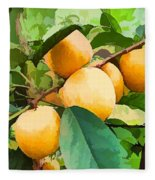 Fleshy Yellow Plums On The Branch Fleece Blanket