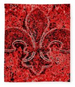 Fleur De Lis Red Ice Fleece Blanket