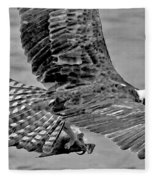 Flight Of The Osprey Bw Fleece Blanket