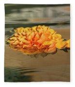 Floating Beauty - Hot Orange Chrysanthemum Blossom In A Silky Fountain Fleece Blanket