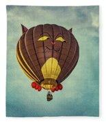 Floating Cat - Hot Air Balloon Fleece Blanket