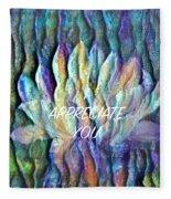 Floating Lotus - I Appreciate You Fleece Blanket