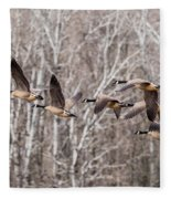 Flock Of Geese Fleece Blanket