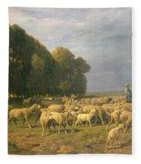 Flock Of Sheep In A Landscape Fleece Blanket