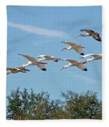 Flock Of White Ibises Fleece Blanket