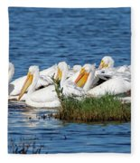 Flock Of White Pelicans Fleece Blanket