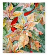 A Peachy Poinsettia Fleece Blanket