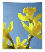 Floral Art Daffodil Flowers Spring Prints Blue Sky Baslee Troutman Fleece Blanket