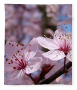 Floral Art Pink Spring Blossoms Prints Blue Sky Baslee Troutman Fleece Blanket