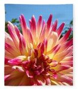 Floral Art Pink Yellow Dahlia Flower Baslee Troutman Fleece Blanket