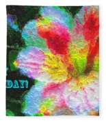 Floral Birthday Card Fleece Blanket