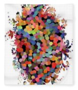 Floral Bouquet Abstract With Dots Fleece Blanket