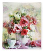 Floral Bouquet Table Setting In Tiny Bubbles Fleece Blanket