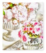 Floral Bouquets Pink Roses  Fleece Blanket