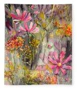 Floral Cosmos Fleece Blanket