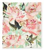 Floral Cranes Fleece Blanket