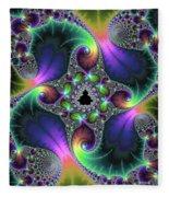 Floral Fractal Art Jewel Tones Vertical Fleece Blanket
