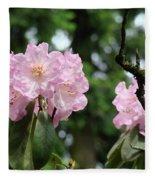 Floral Garden Pink Rhododendron Flowers Baslee Troutman Fleece Blanket