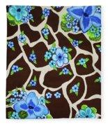 Floral Giraffe Print Fleece Blanket