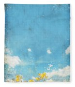 Floral In Blue Sky And Cloud Fleece Blanket