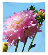 Floral Landscape Art Print Pink Dahlia Flower Blue Sky Canvas Baslee Troutman Fleece Blanket