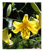 Floral Lilies Art Yellow Lily Flowers Giclee Baslee Troutman Fleece Blanket